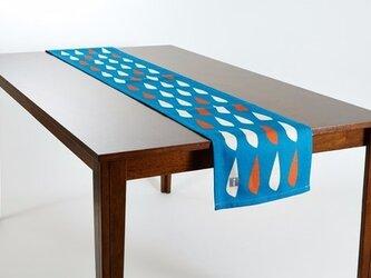 テーブルランナー 北欧柄 ブルーシーフィッシュ 天然リネン 183×30cm jubileetabletr044ymの画像