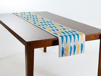 テーブルランナー 北欧柄 フィッシュリーフ 天然リネン 183×30cm jubileetabletr039ymの画像