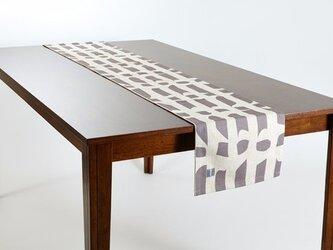 テーブルランナー 北欧柄 グレーフロー 天然リネン 183×30cm jubileetabletr034ymの画像