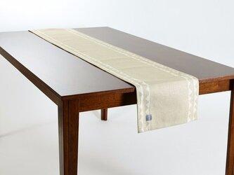 テーブルランナー 北欧柄 オリーブレース 天然リネン 183×30cm jubileetabletr030ymの画像