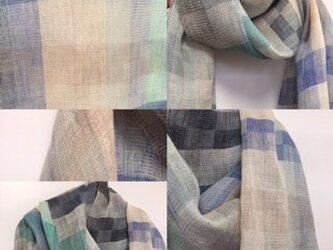 ❐手織り/ピュアウール・リネン大判ストールの画像