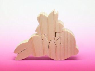 送料無料 木のおもちゃ 動物組み木 さくらとうさぎ 2の画像