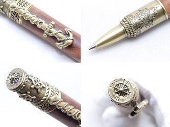 【受注製作】手作り木製の回転式ボールペン(ココボロ;真鍮のメッキ)(NAU-AB-CO)の画像