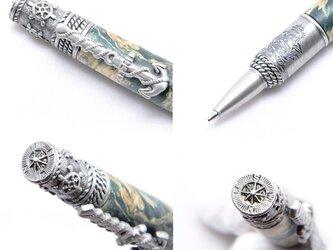 【受注製作】手作り木製の回転式ボールペン(染めたカエデの種類;ピューター(しろめ)のメッキ)(NAU-AP-BET)の画像