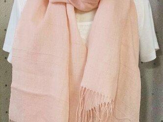手織ストール*格子のさくらの画像