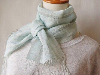 手織miniストール*ブルーグレーの画像