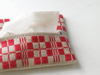手織り布のティッシュケースAの画像