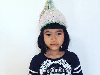 ベイビー★ユニコーン 緑 虹色流れ星 S とんがり帽子の画像