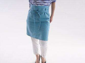 【wafu】中厚 リネン エプロン 両脇2ポケット ワークサロン エプロン / ブルー ポルスレーヌ z001c-bnp2の画像