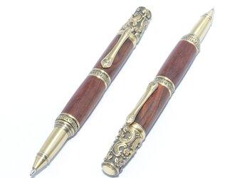 【受注製作】木製の回転式ボールペン(ココボロ;真鍮のメッキ)の画像
