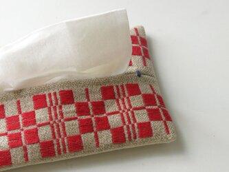 手織り布のティッシュケースBの画像
