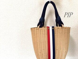 トリコロールのバケツ型バッグ《受注製作》の画像