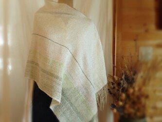 手織り リトアニアリネンのポンチョ ホワイトの画像