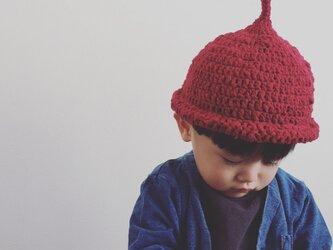 【受注製作】オーガニックコットンガラ紡糸ロールどんぐり帽子(レッド)の画像