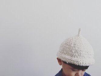 【受注製作】オーガニックコットンガラ紡ロールどんぐり帽子(生成)の画像