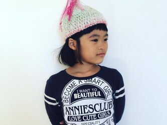 ベイビー★ユニコーン ピンク 虹色流れ星 S とんがり帽子の画像