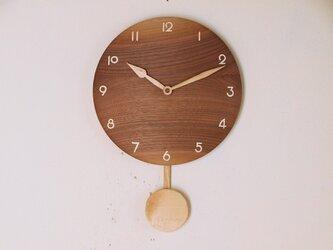 木製 振り子時計 ブラックウォールナット材1の画像