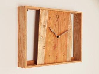 木製 箱型 掛け時計 欅(ケヤキ)材2の画像