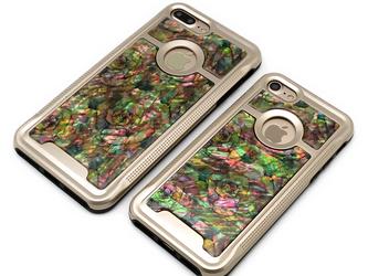iPhone7/7Plus 天然貝ケース(アンティークローズ・ゴールドタイプ)<螺鈿アート>の画像