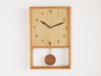 木製 箱型 振り子時計 ケヤキ材10の画像