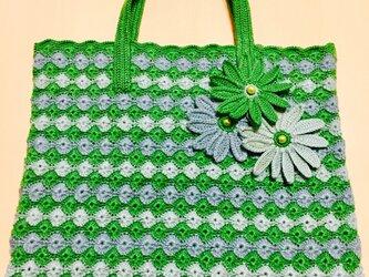 松編みのトートバッグ(グリーンのグラデーションカラー)の画像
