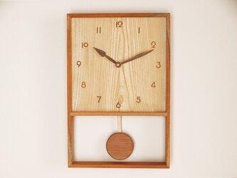木製 箱型 振り子時計 ケヤキ材3の画像