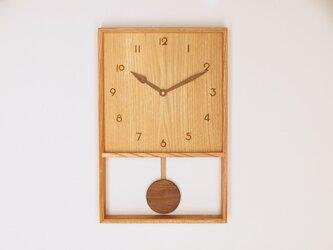 木製 箱型 振り子時計 ケヤキ材16の画像