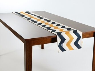 テーブルランナー 北欧柄 ブラックオレンジ シェブロン 天然リネン 183×30cm jubileetabletr028の画像