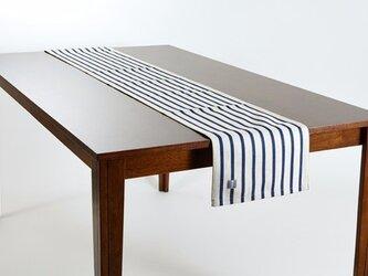 テーブルランナー 北欧柄 ネイビーボーダーオンホワイト 天然リネン 183×30cm jubileetabletr026の画像