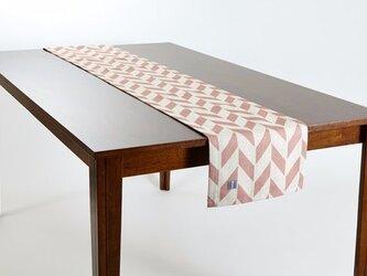テーブルランナー 北欧柄 ピンクオフホワイト フェザー 天然リネン 183×30cm jubileetabletr026の画像