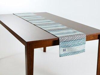 テーブルランナー 北欧柄 グリーン リーフ ストライプ 天然リネン 183×30cm jubileetabletr024の画像