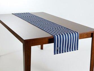 テーブルランナー 北欧柄 ホワイトボーダーオンネイビー 天然リネン 183×30cm jubileetabletr023の画像