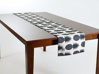 テーブルランナー 北欧柄 パイナップルリピート 天然リネン 183×30cm jubileetabletr022の画像