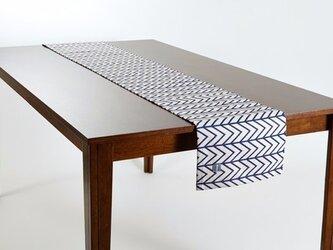 テーブルランナー 北欧柄 ネイビーウェーブ 天然リネン 183×30cm jubileetabletr016の画像