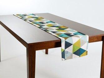 テーブルランナー 北欧柄 イエローグリーンジオ 天然リネン 183×30cm jubileetabletr013の画像