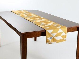 テーブルランナー 北欧 イエローマスタードダイヤモンド 天然リネン 183×30cm jubileetabletr011の画像