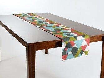 テーブルランナー 北欧柄 オレンジグリーンダイヤモンド 天然リネン 183×30cm jubileetabletr010の画像
