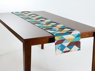 テーブルランナー 北欧柄 グリーンブラウンダイヤモンド 天然リネン 183×30cm jubileetabletr009の画像