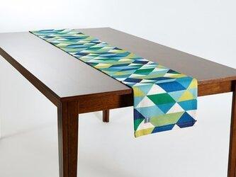 テーブルランナー 北欧柄 グリーンブルーダイヤモンド 天然リネン 183×30cm jubileetabletr003の画像