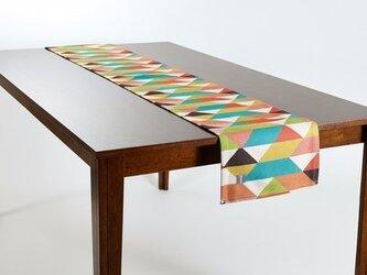 テーブルランナー 北欧柄 グリーンオレンジダイヤモンド 天然リネン 183×30cm jubileetabletr002の画像