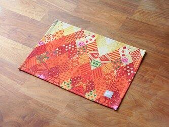 テーブルクロス 北欧柄 オレンジ イエローパッチワーク 2枚組 天然リネン jubileeteatoweltt125の画像