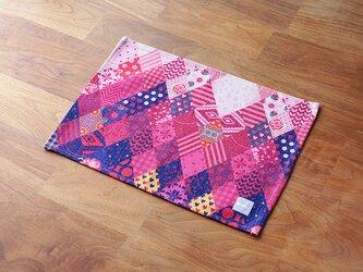 テーブルクロス 北欧柄 ピンク ブルーパッチワーク 2枚組 天然リネン jubileeteatoweltt124の画像