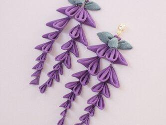 たわわに揺れる 藤の花 ピアス〈受注製作〉 つまみ細工  和  着物 春 紫の画像
