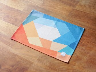 ランチョンマット ブルーオレンジホール 2枚組 LAMOPPE デザイン 天然リネン jubileeteatoweltt075の画像
