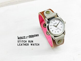 ▲STITCH イチゴとチョコでカジュアル女子「ステッチラン 腕時計」ユニセックスOK(SRW-BPH-PA)の画像