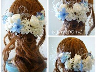 サムシングブルー♡デンファレとブルースターのヘッドドレス プリザーブドフラワーの画像