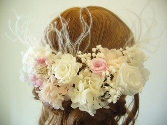 ほんのりピンク♡ローズとスカビオサのヘッドドレス プリザーブドフラワー の画像