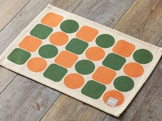 ランチョンマット 北欧柄 オレンジグリーンタイル 2枚組 リネン 45×32cm jubileeteatoweltt051ymの画像