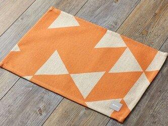 ランチョンマット 北欧デザイン オレンジレッドダイヤモンド 2枚組 天然リネン jubileeteatoweltt005の画像