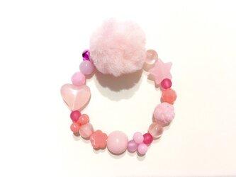 ぽんぽんブレスレット(ピンク)の画像